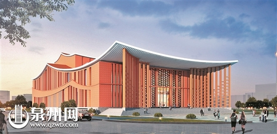 (泉州歌舞劇院規劃效果圖)   新建泉州歌舞劇院位於泉州市北峰片區泉山路中段東側,緊臨清源山風景區,環境優美,與泉州木偶劇院和錦繡莊藝術園連成一片,建成後將成為泉州市公共文化服務體系中的一個重要組成部分。   按照規劃,泉州歌舞劇院總用地面積約13331.4平方米,總建築面積8000平方米,主要建設內容包括500座位劇院和研究、展示、製作、排練等功能綜合樓各一座。建築整體造型簡潔飄逸,凸顯歌舞劇院的意境美。其中,建築主入口層層疊合,像緩緩拉開的大幕,預示精彩的大戲即將上演。值得一提的是,整個劇院的基座採